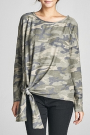 Cotton Bleu Camo Crew Neck Top - Front cropped
