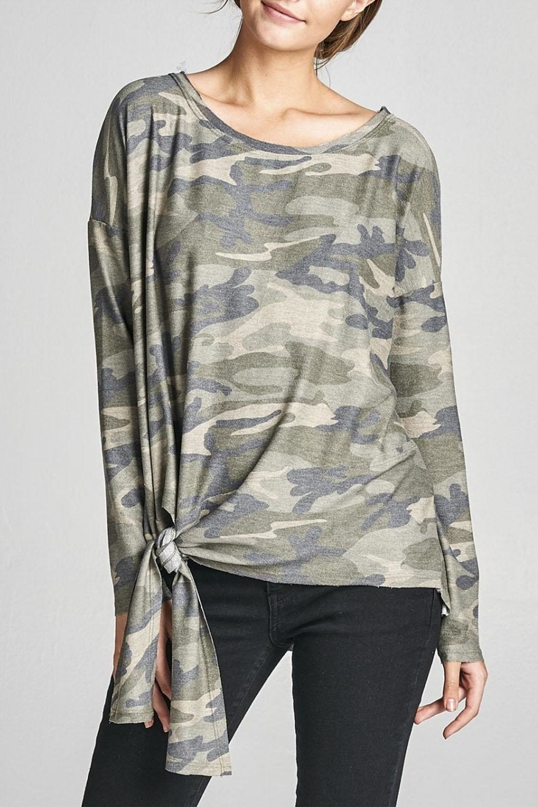 Cotton Bleu Camo Crew Neck Top - Back Cropped Image