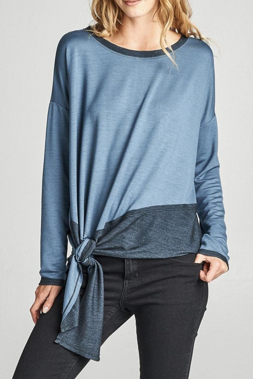 Cotton Bleu Color Block Top - Front Cropped Image