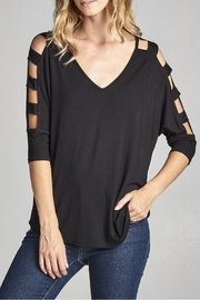 Cotton Bleu Cut Out Shoulder Top - Product Mini Image