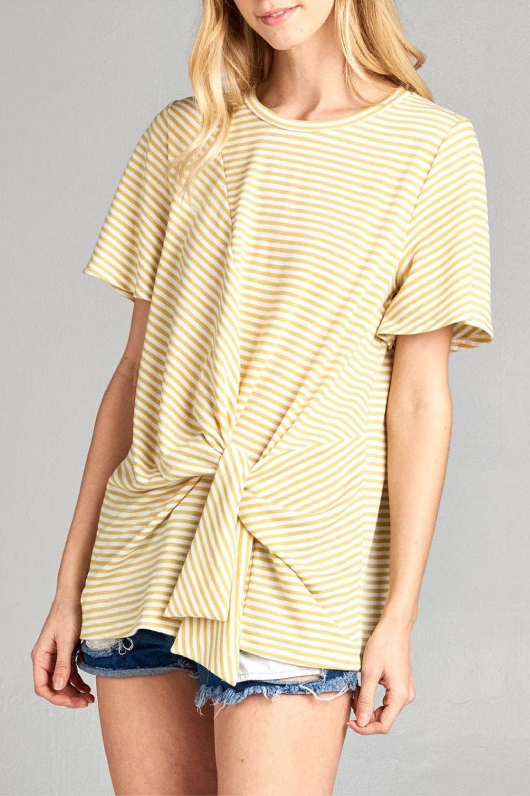 Cotton Bleu Flare Sleeve Top - Side Cropped Image
