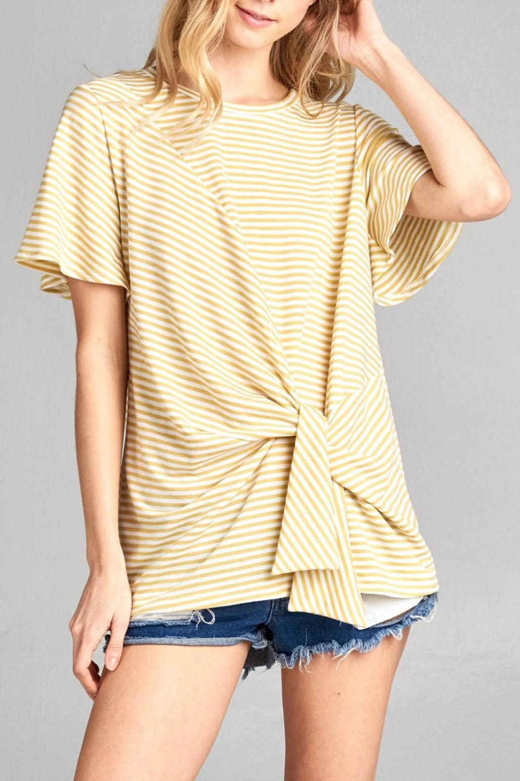 Cotton Bleu Flare Sleeve Top - Front Full Image