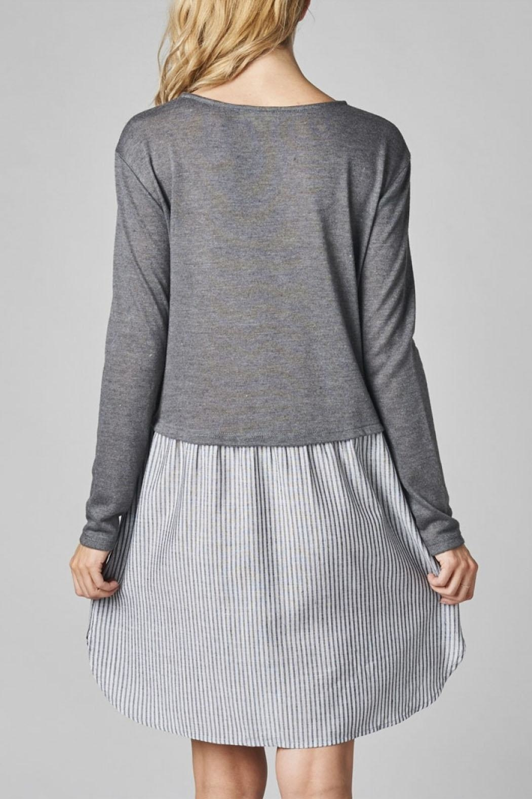 Cotton Bleu Knit Pullover Combo Dress - Side Cropped Image