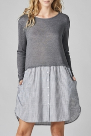 Cotton Bleu Knit Pullover Combo Dress - Product Mini Image
