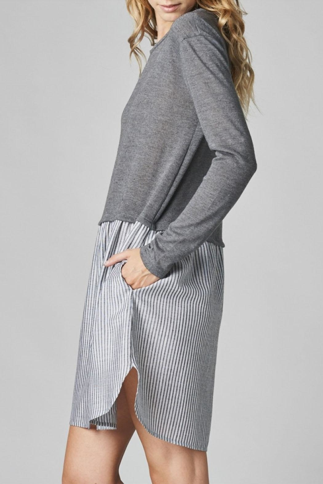 Cotton Bleu Knit Pullover Combo Dress - Front Full Image