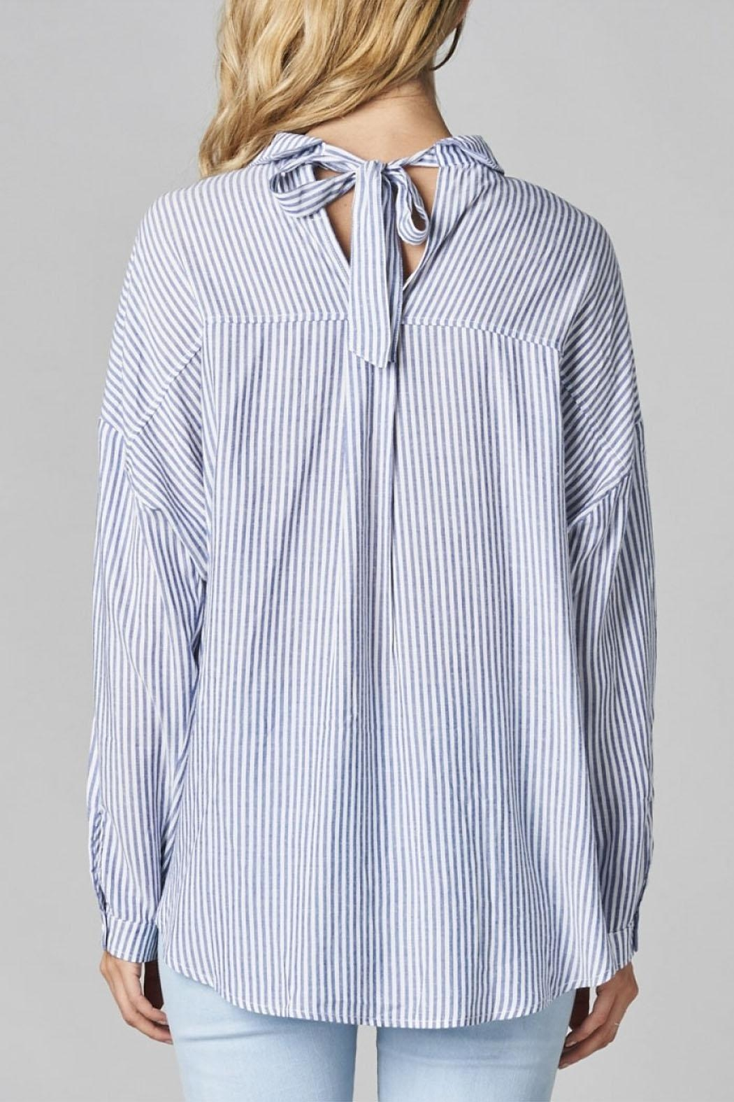 Cotton Bleu Striped Button Up Shirt - Side Cropped Image