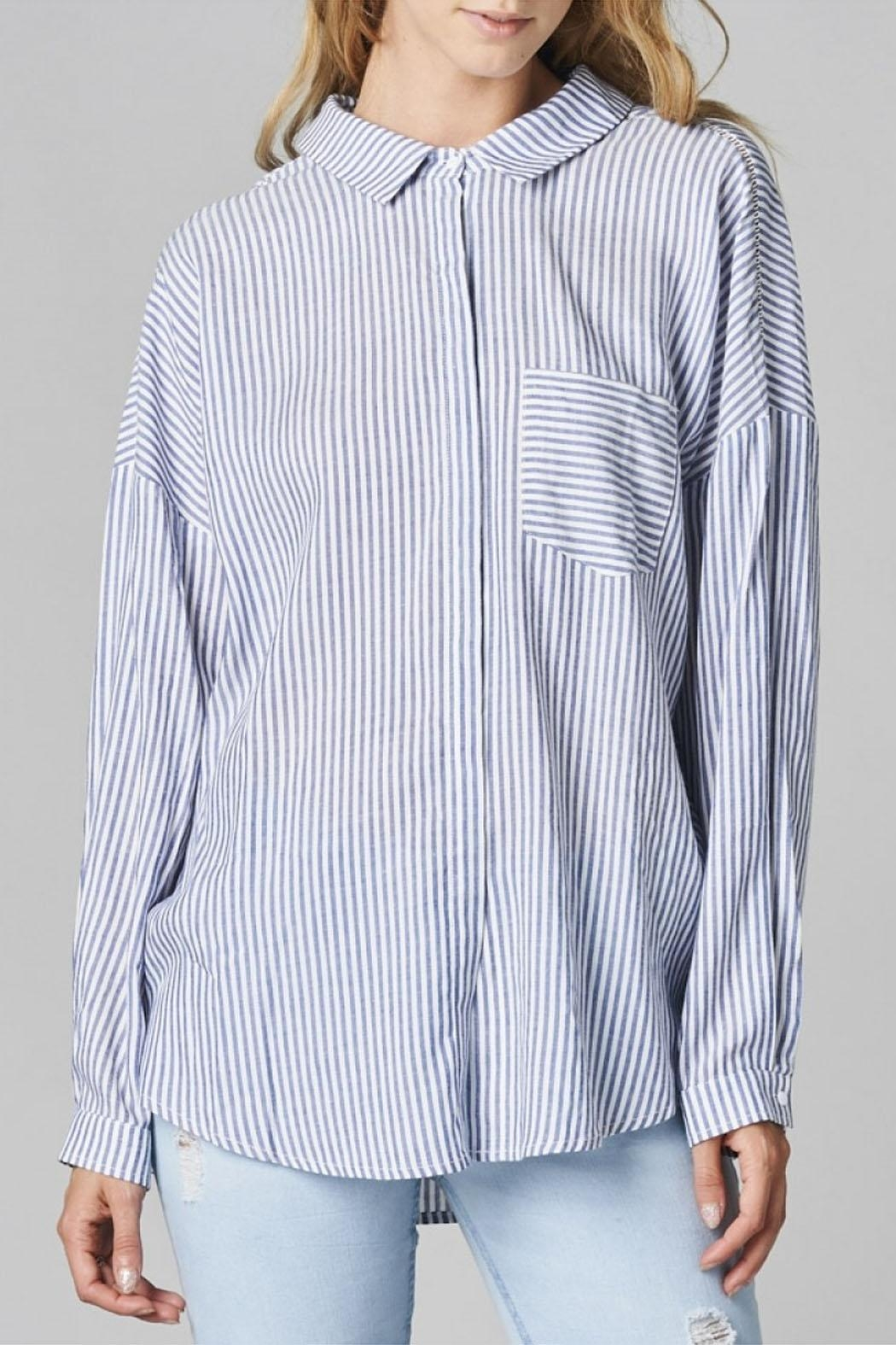 Cotton Bleu Striped Button Up Shirt - Front Cropped Image