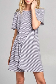 Cotton Bleu Striped Tie Dress - Product Mini Image