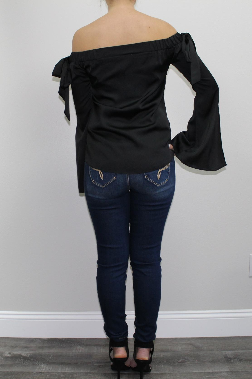 Cotton Candy Black Offshoulder Blouse - Front Full Image