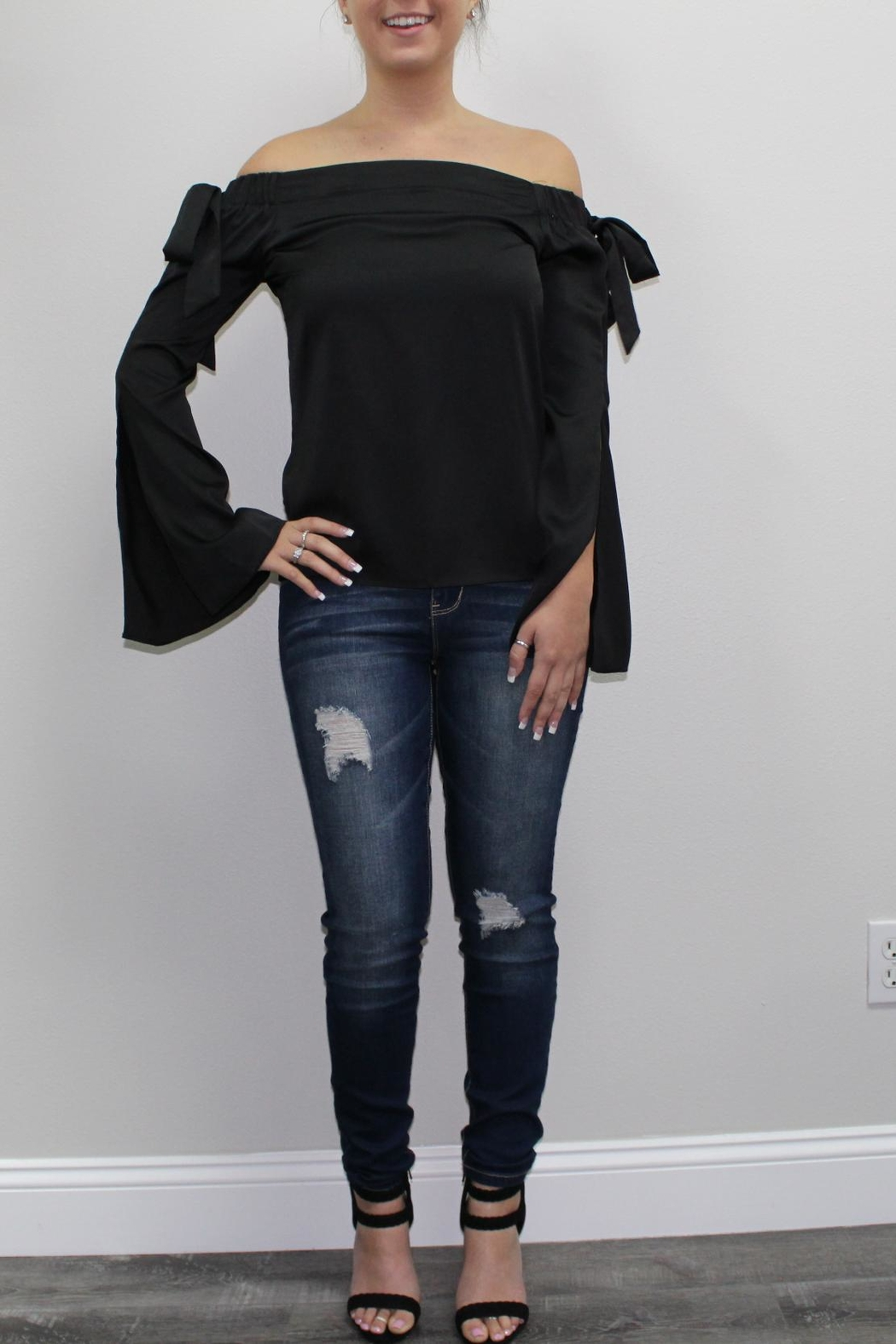 Cotton Candy Black Offshoulder Blouse - Main Image