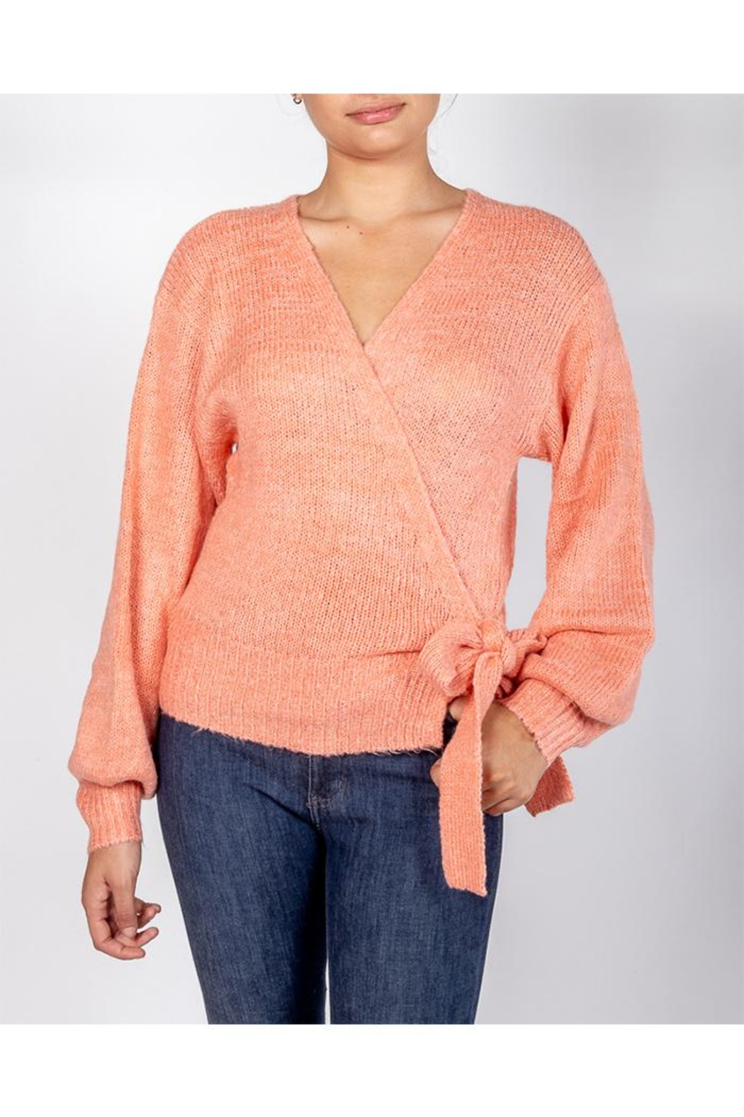 Cotton Candy Coral Wrap Sweater - Main Image