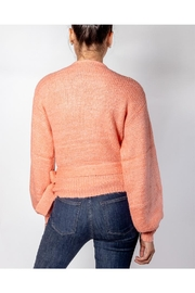 Cotton Candy Coral Wrap Sweater - Back cropped