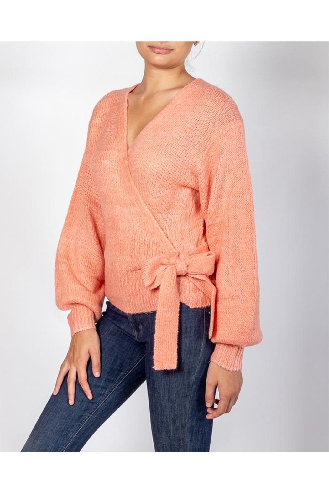 Cotton Candy Coral Wrap Sweater - Side Cropped Image