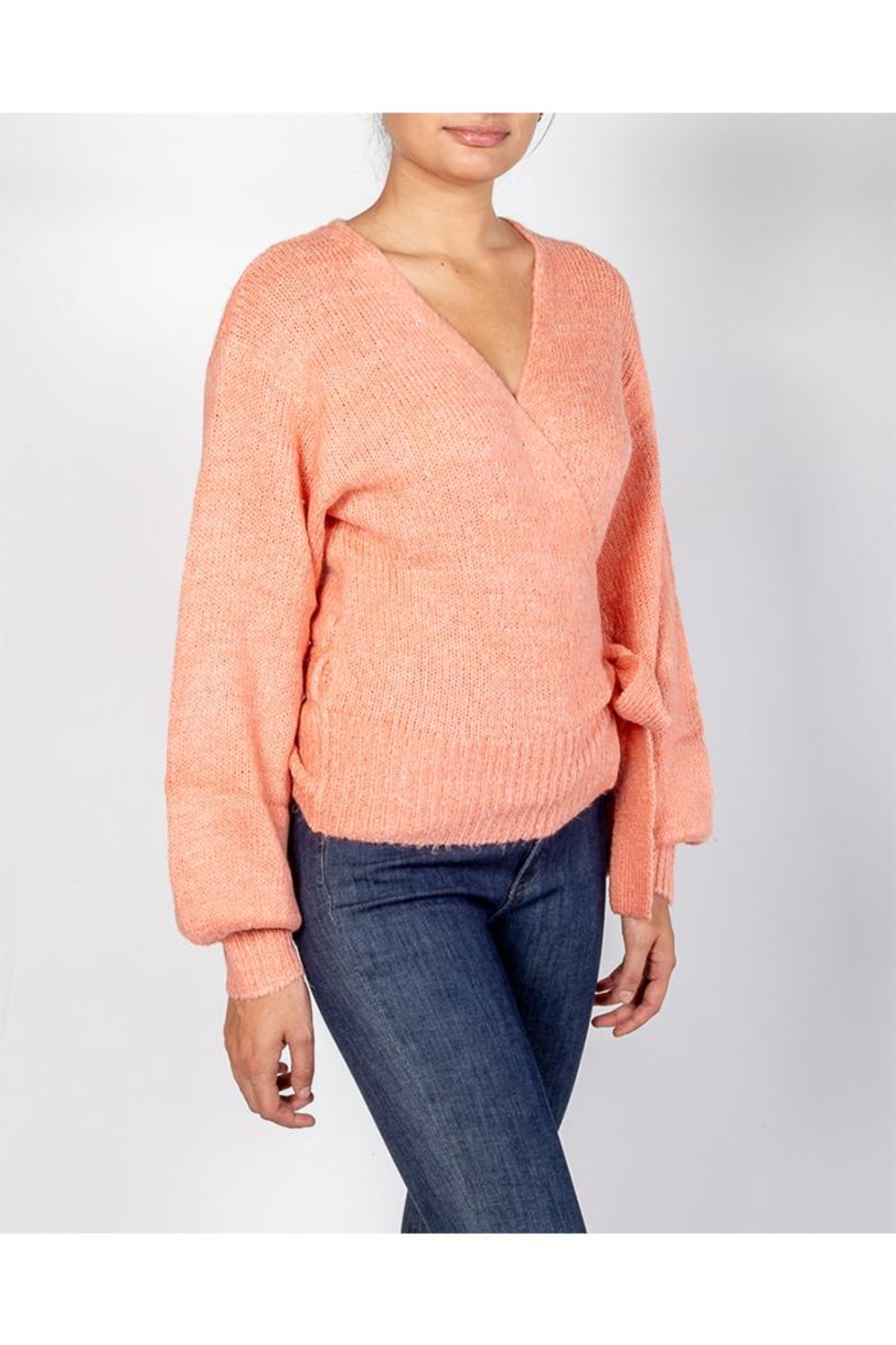 Cotton Candy Coral Wrap Sweater - Front Full Image