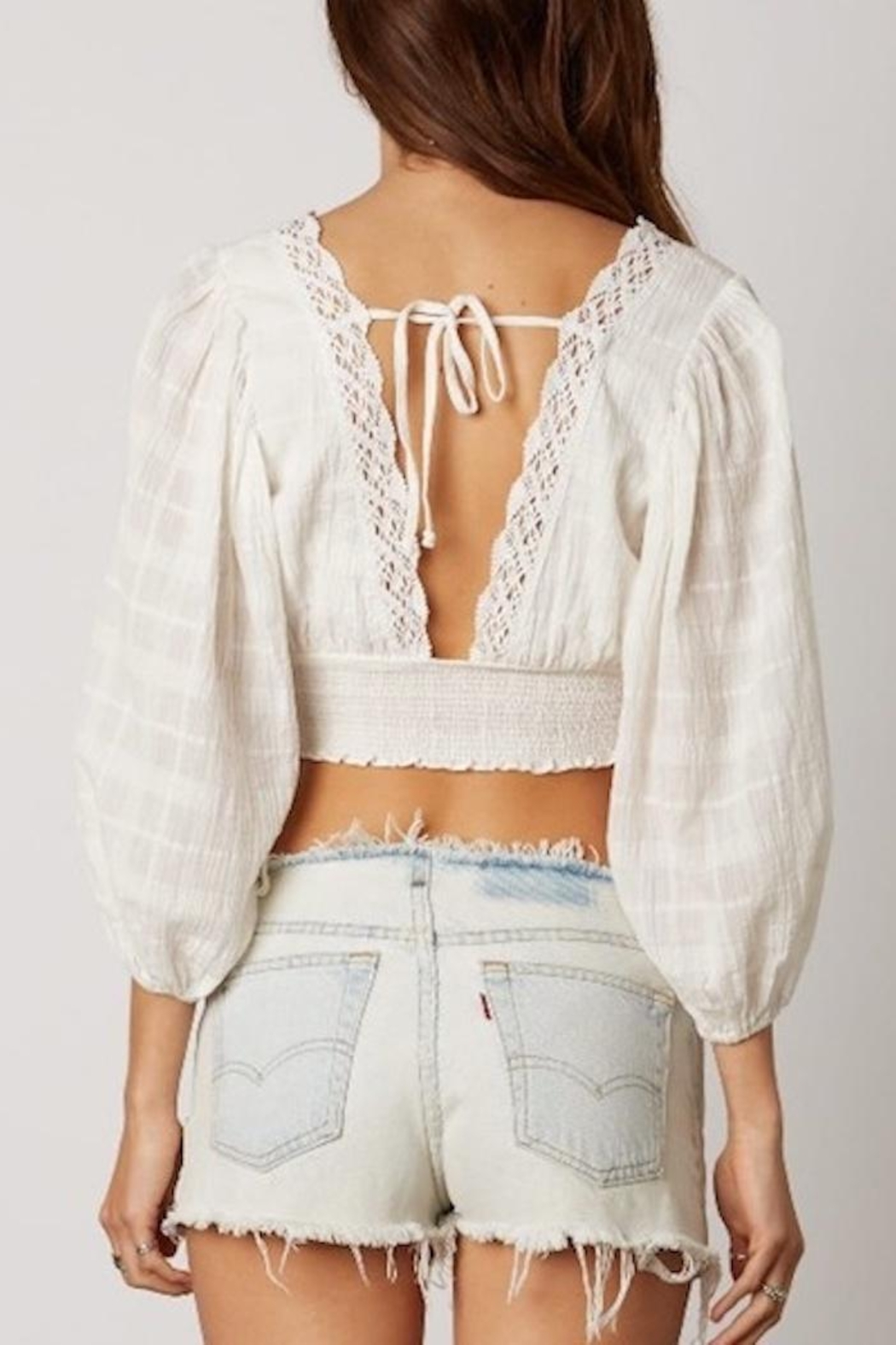 Cotton Candy Crochet Crop Top - Side Cropped Image