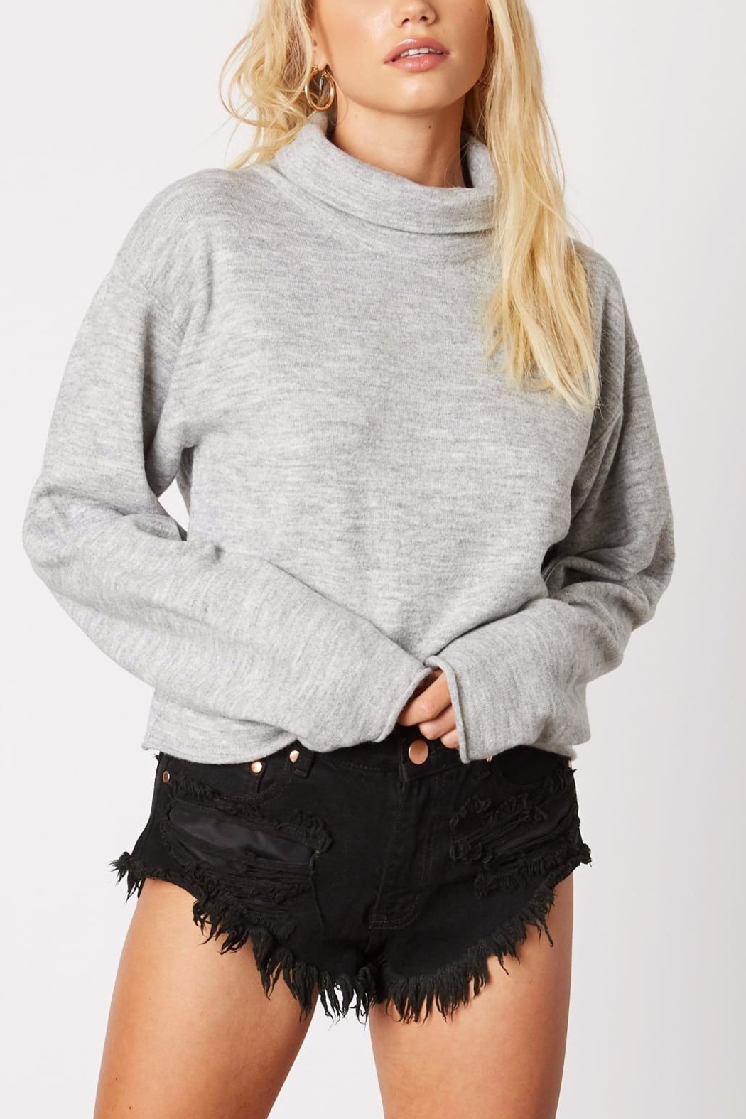 Cotton Candy Cropped Turtleneck Sweater - Main Image