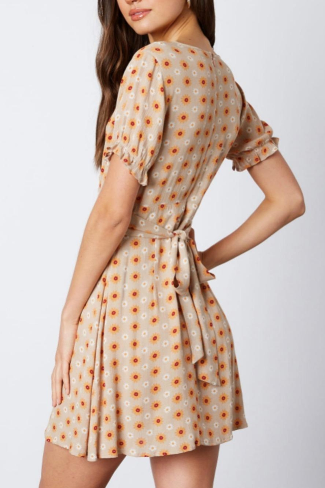 Cotton Candy Daisy Taupe Dress - Side Cropped Image