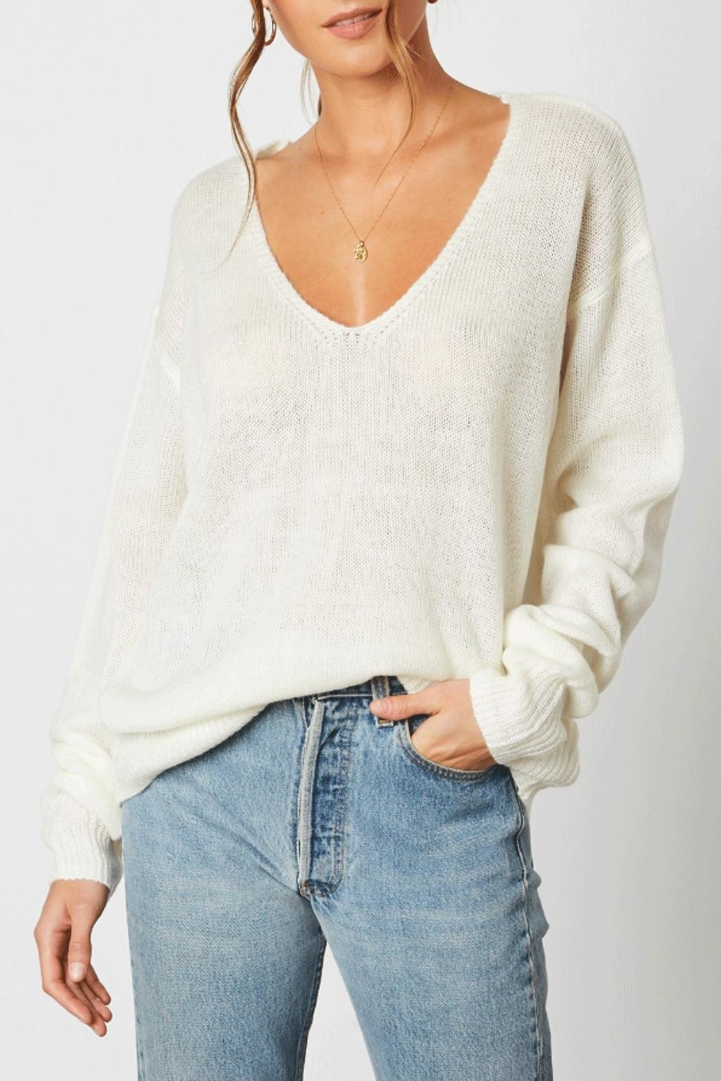 Cotton Candy Deep V-Neck Sweater - Main Image