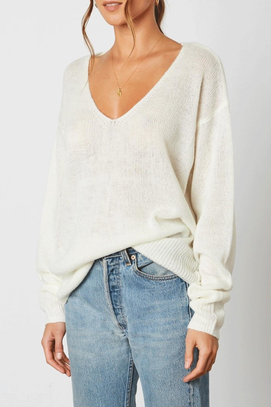 Cotton Candy Deep V-Neck Sweater - Front Full Image