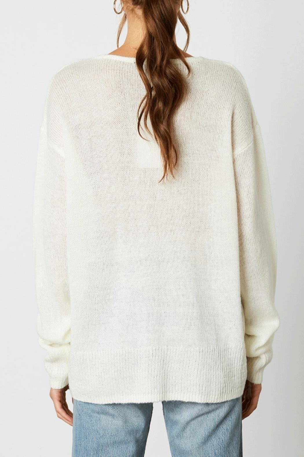 Cotton Candy Deep V-Neck Sweater - Side Cropped Image