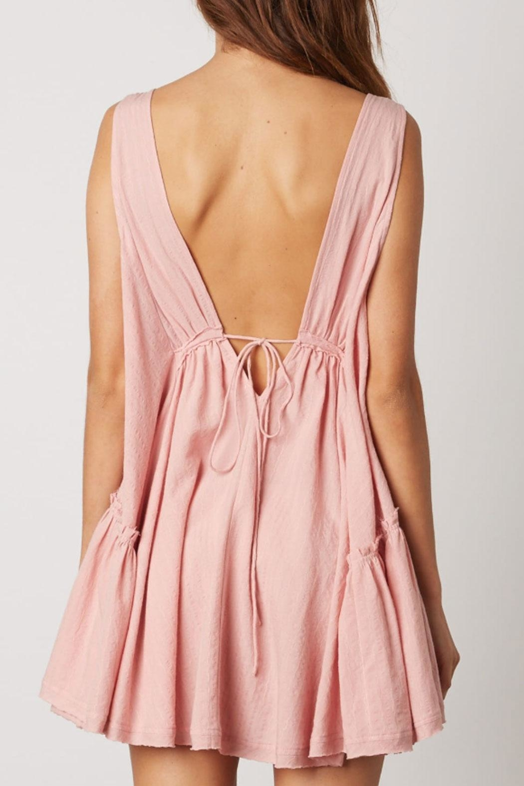 Cotton Candy Deep-V Swing Dress - Back Cropped Image