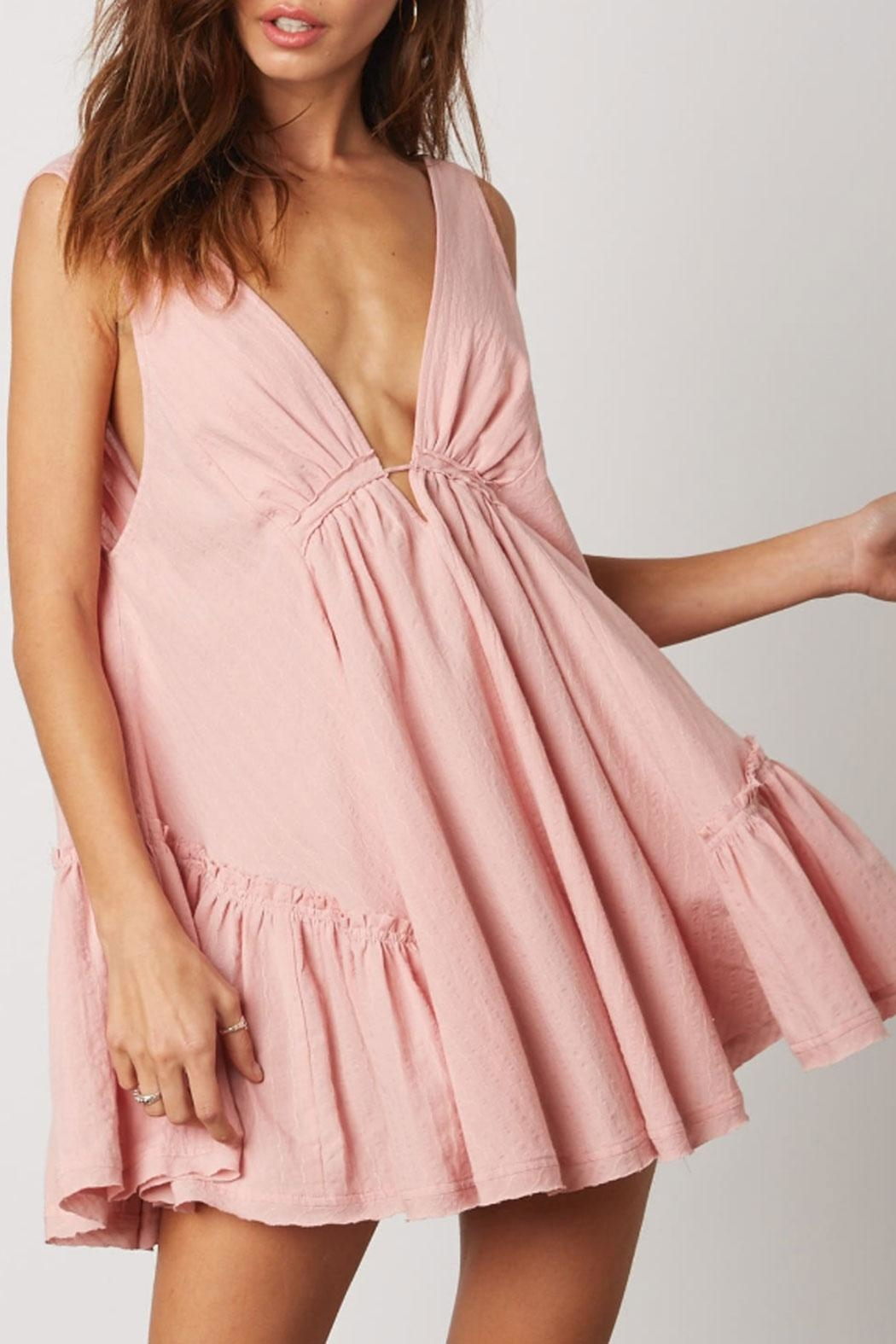 Cotton Candy Deep-V Swing Dress - Side Cropped Image