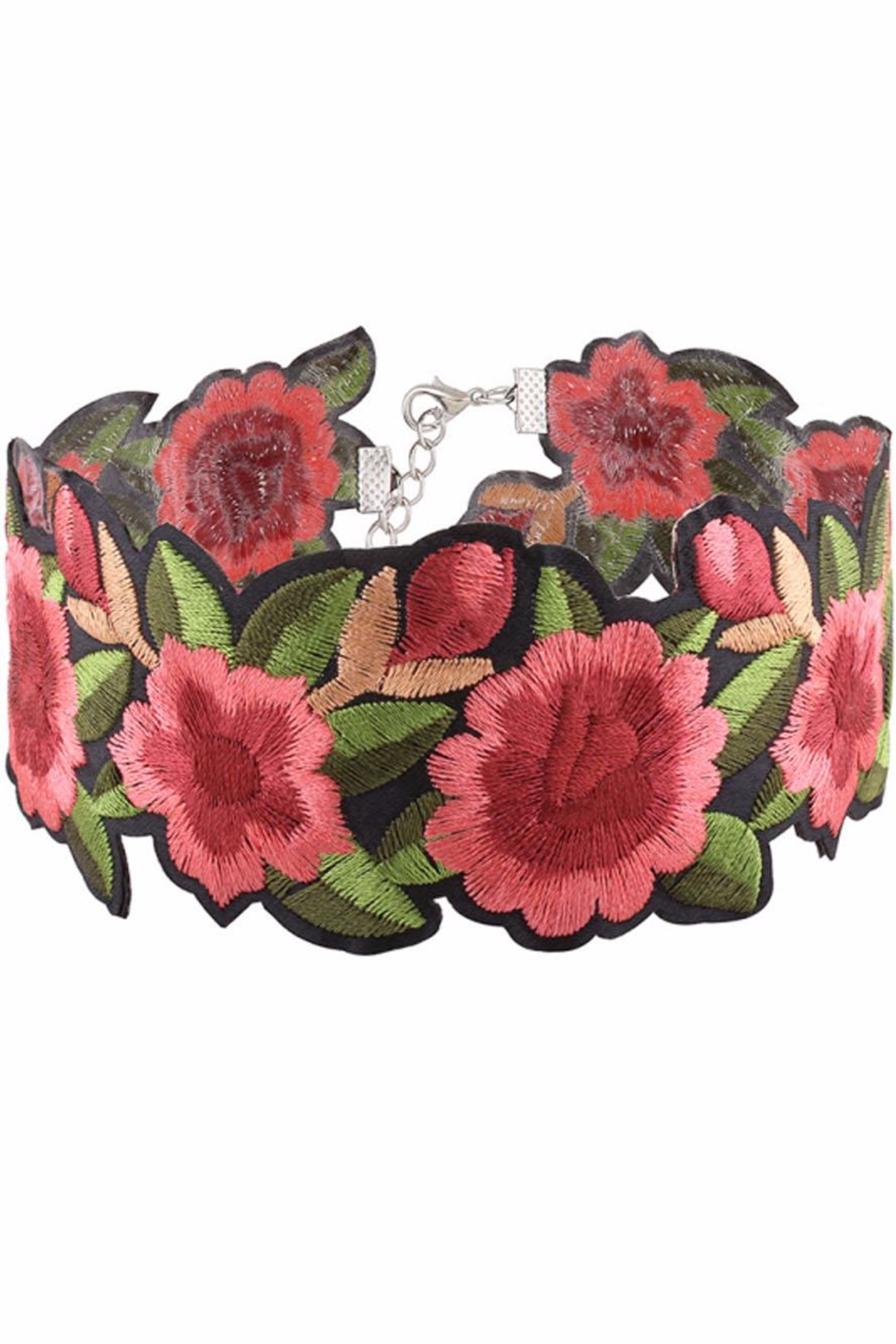 Cotton Candy Embroidered Floral Choker - Main Image
