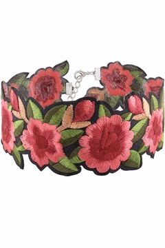 Cotton Candy Embroidered Floral Choker - Alternate List Image
