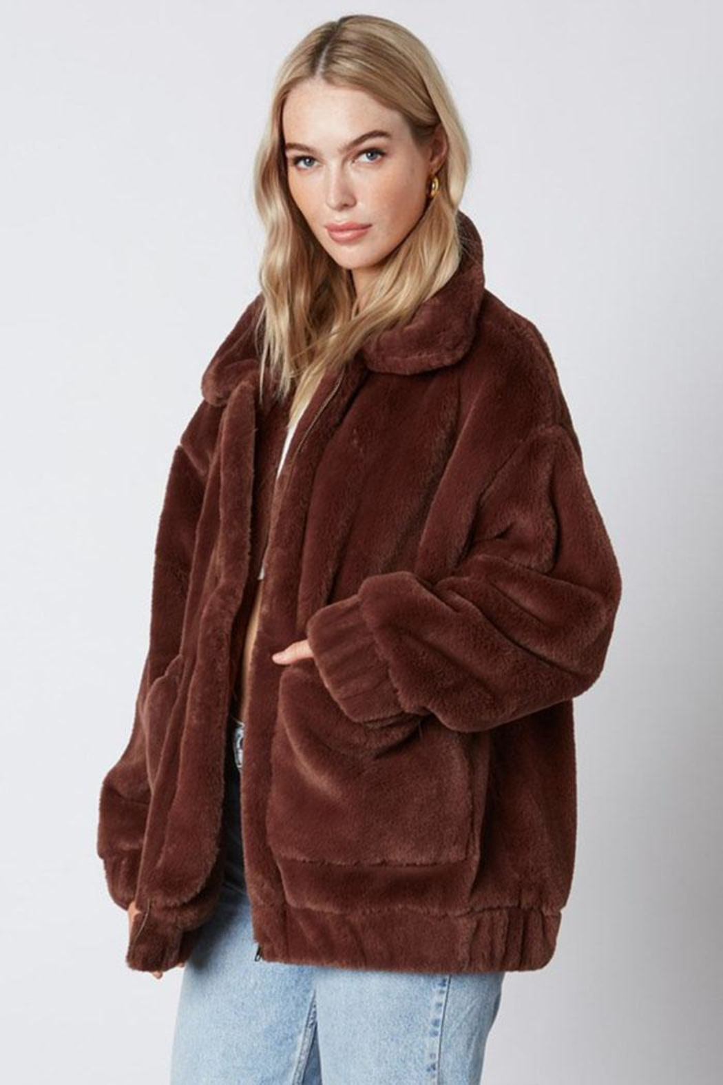 Cotton Candy Faux-Fur Teddy Coat - Front Full Image