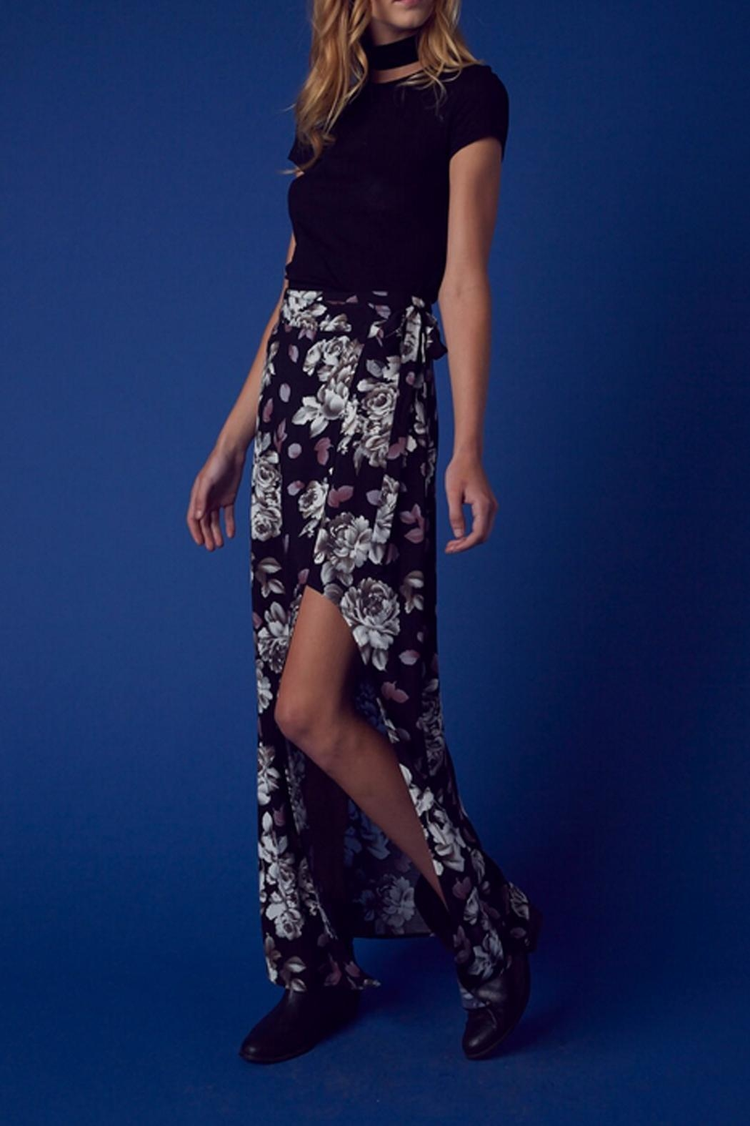 Cotton Candy Floral Wrap Skirt - Front Cropped Image