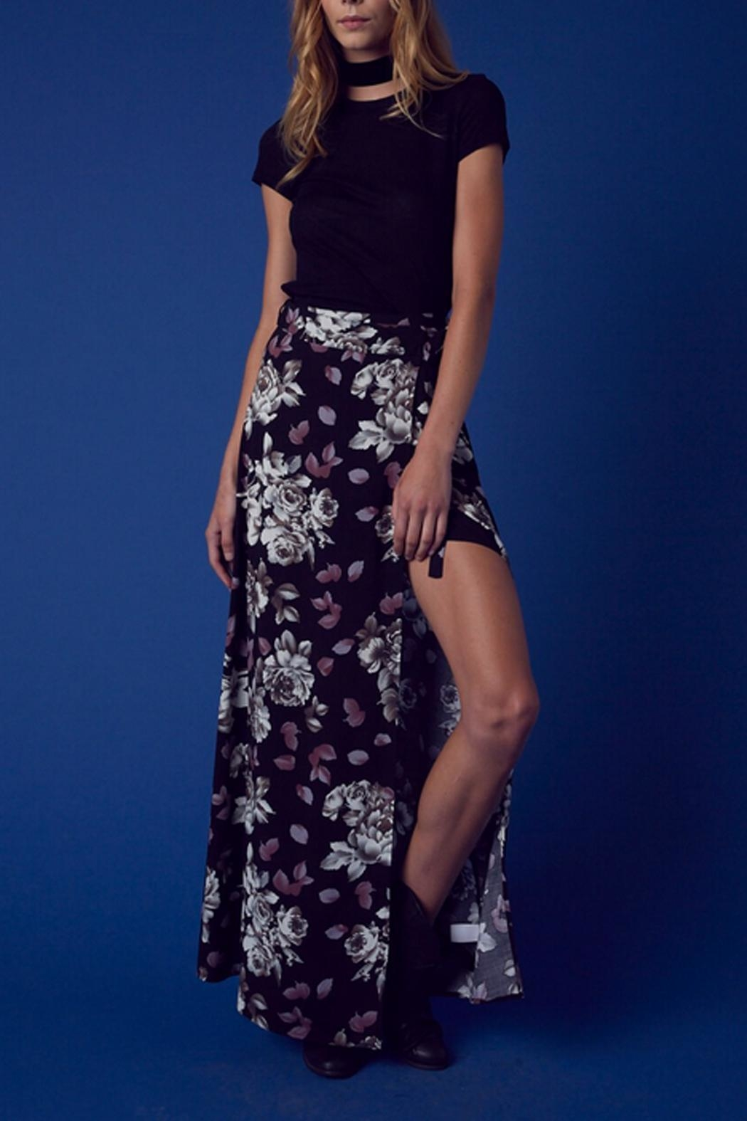 Cotton Candy Floral Wrap Skirt - Front Full Image