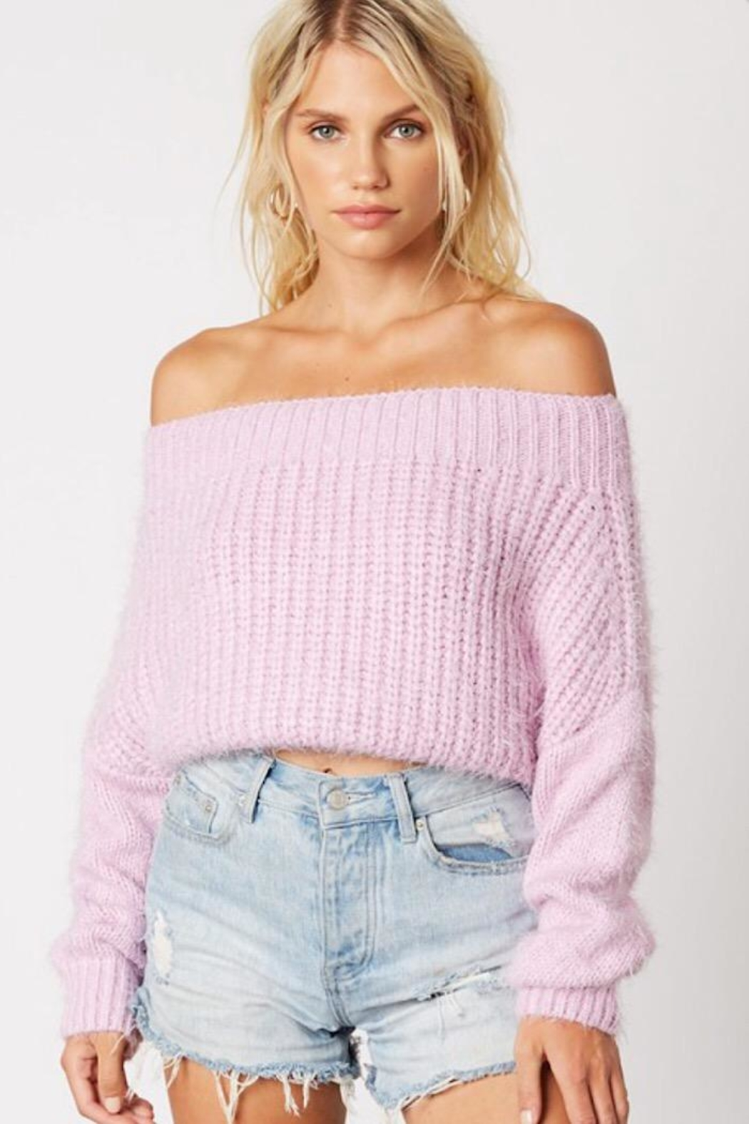 Cotton Candy Fuzzy Cropped Sweater - Main Image