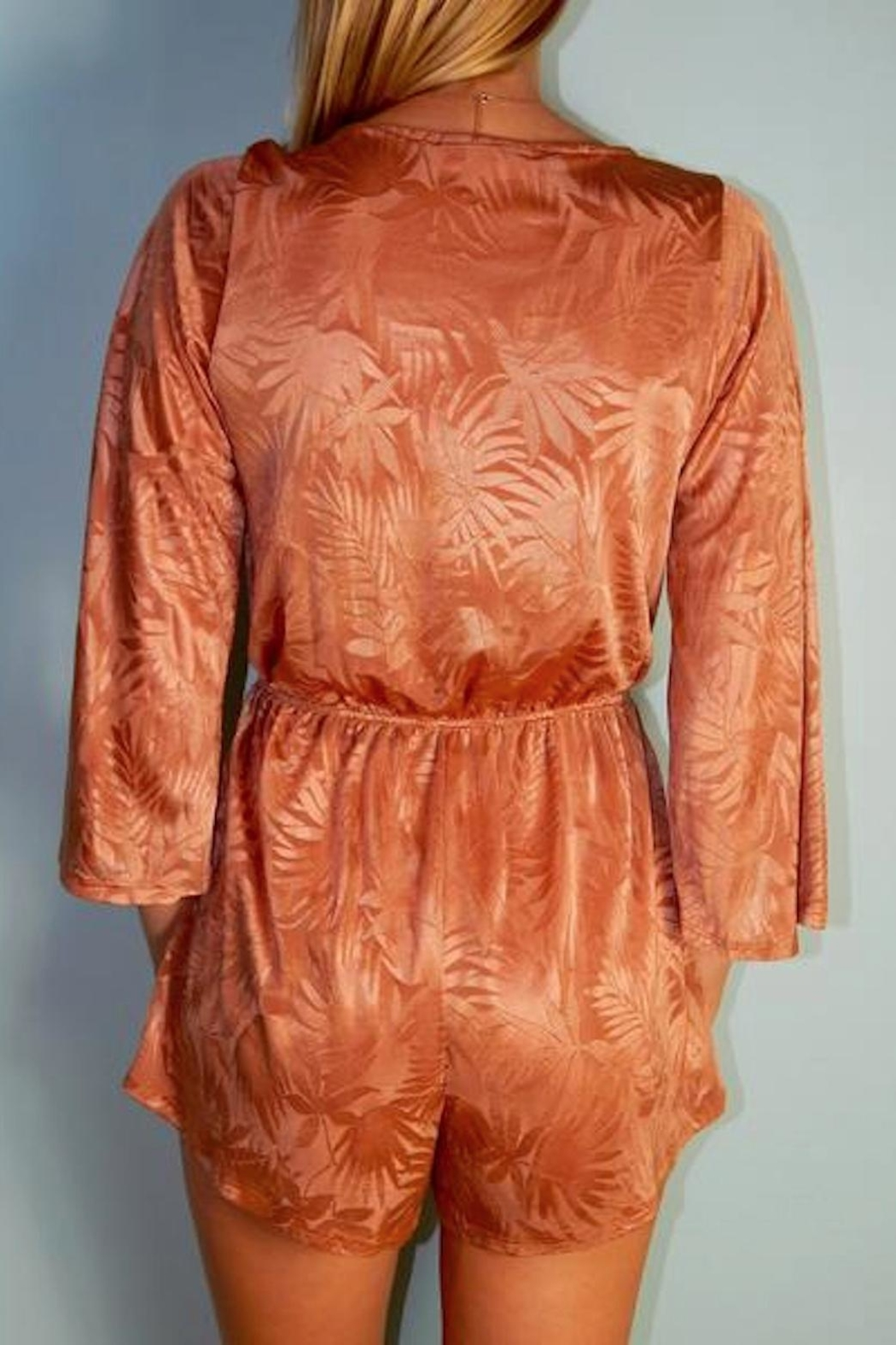 Cotton Candy Golden Palm Romper - Front Full Image