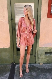 Cotton Candy Golden Palm Romper - Back cropped