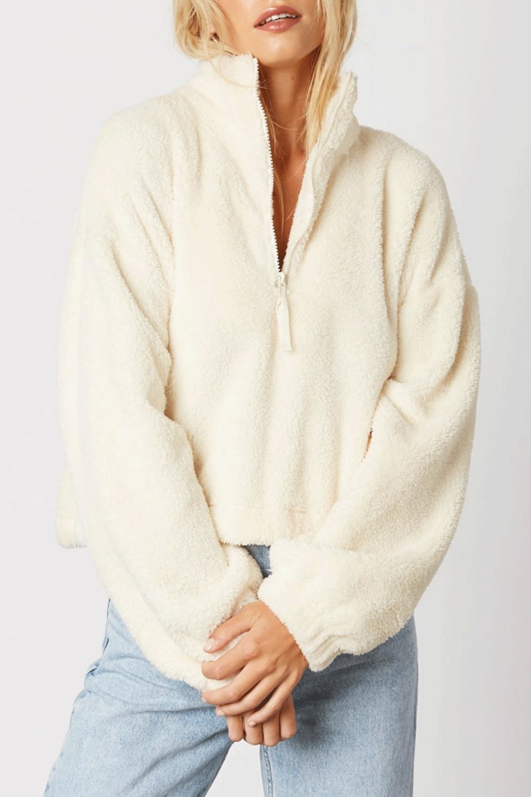 Cotton Candy Half-Zip Plush Pullover - Front Cropped Image