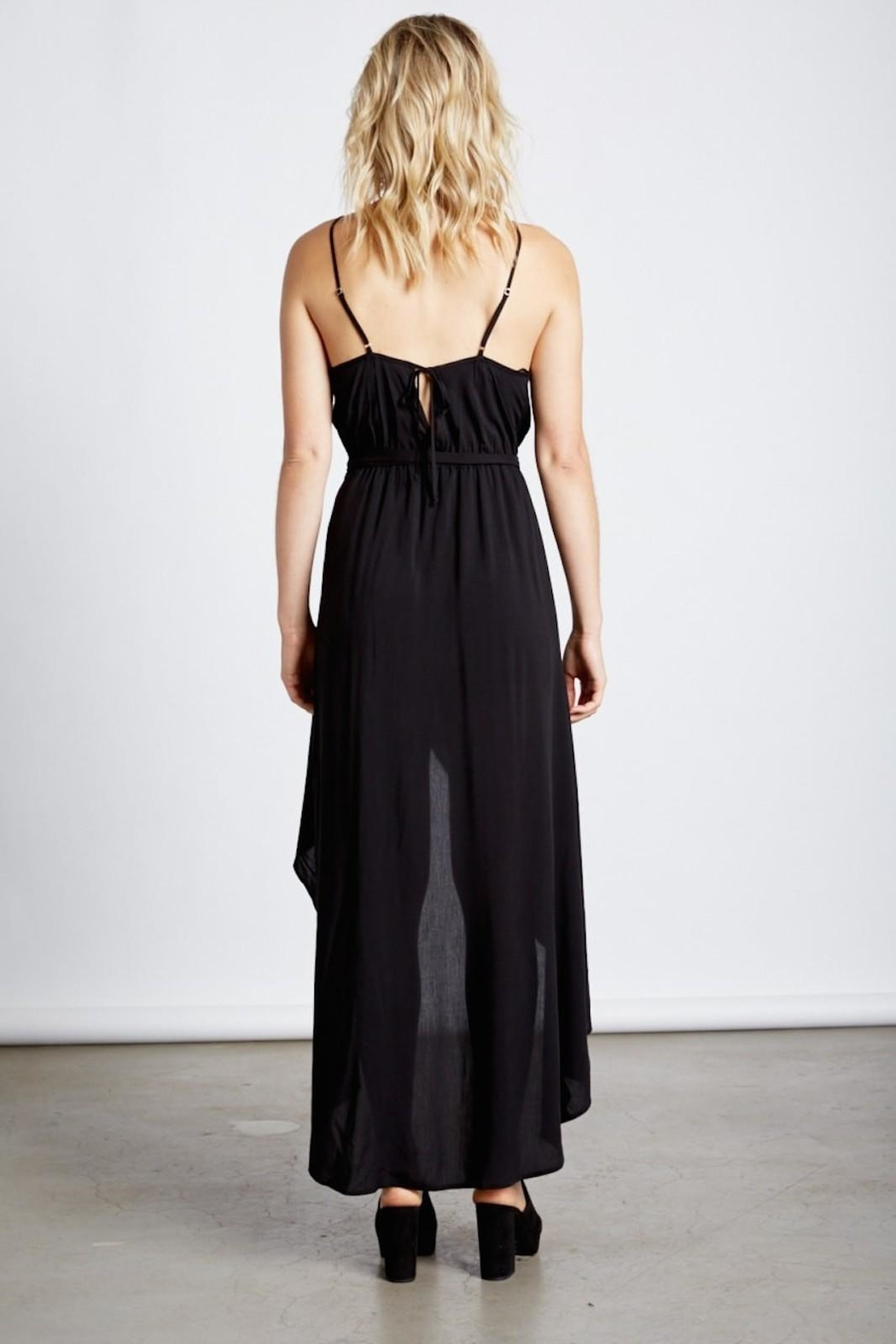 Cotton Candy Black Wrap Maxi - Back Cropped Image