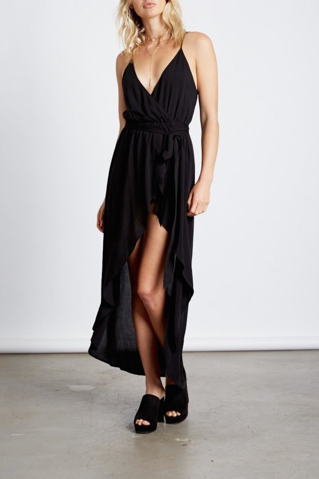 Cotton Candy Black Wrap Maxi - Front Cropped Image