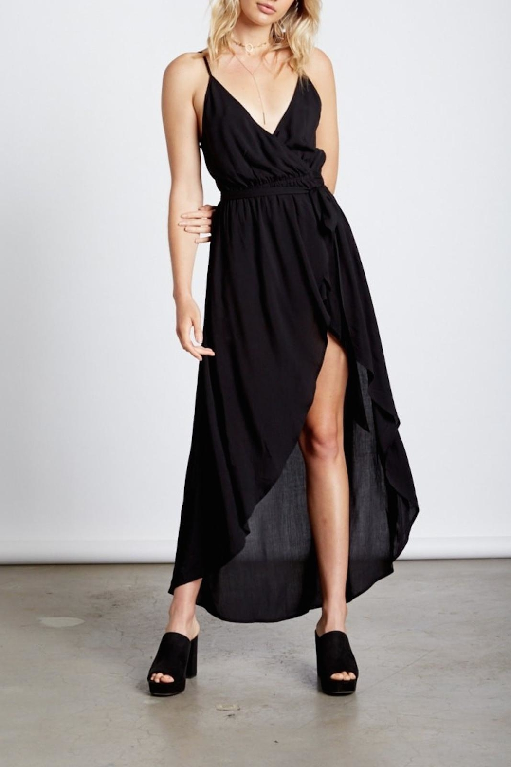 Cotton Candy Black Wrap Maxi - Front Full Image