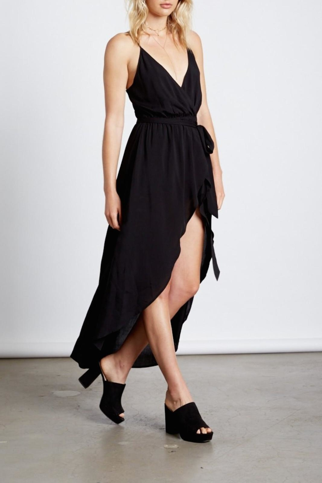 Cotton Candy Black Wrap Maxi - Side Cropped Image