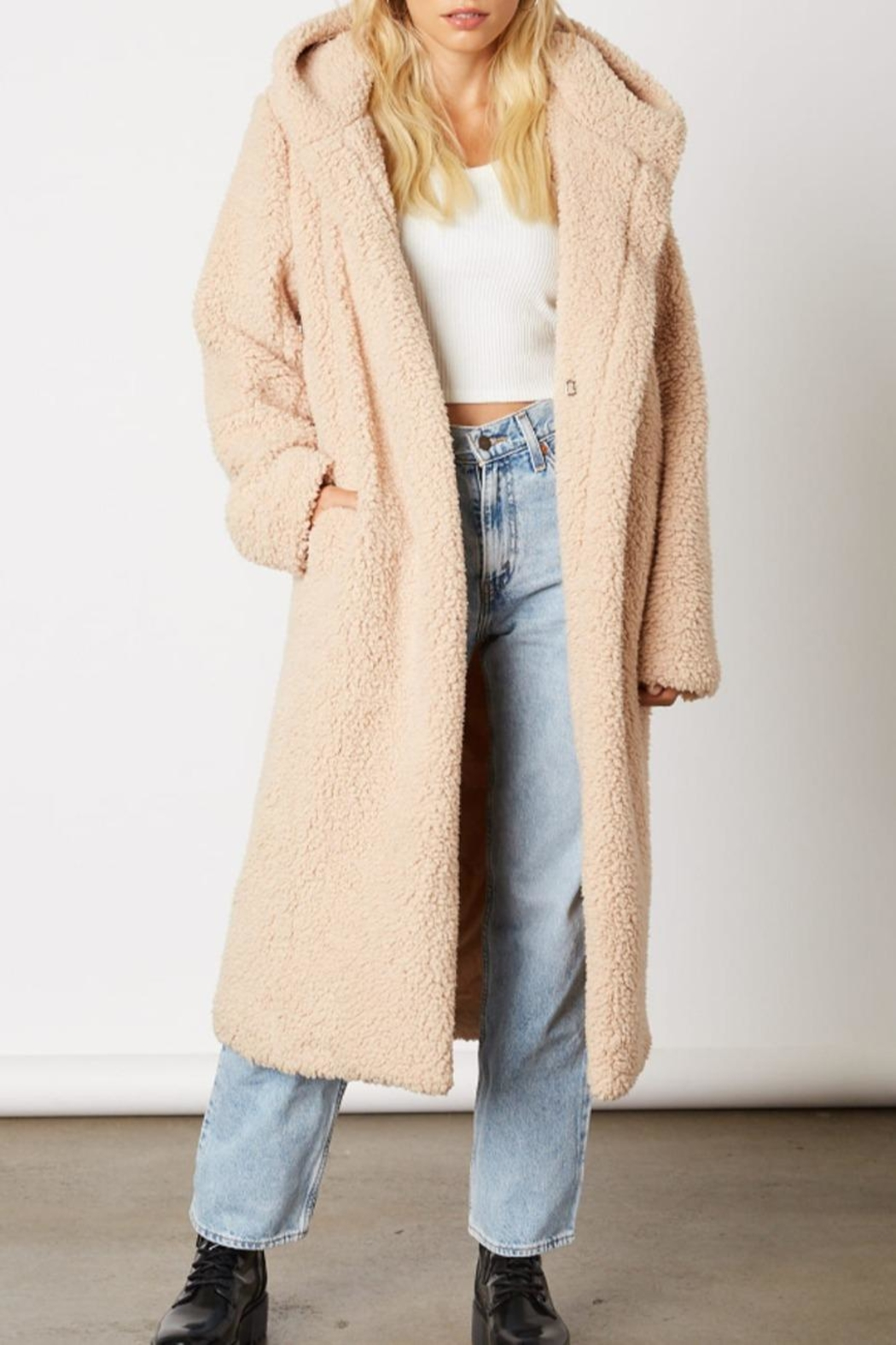 Cotton Candy Long Teddy Coat - Main Image