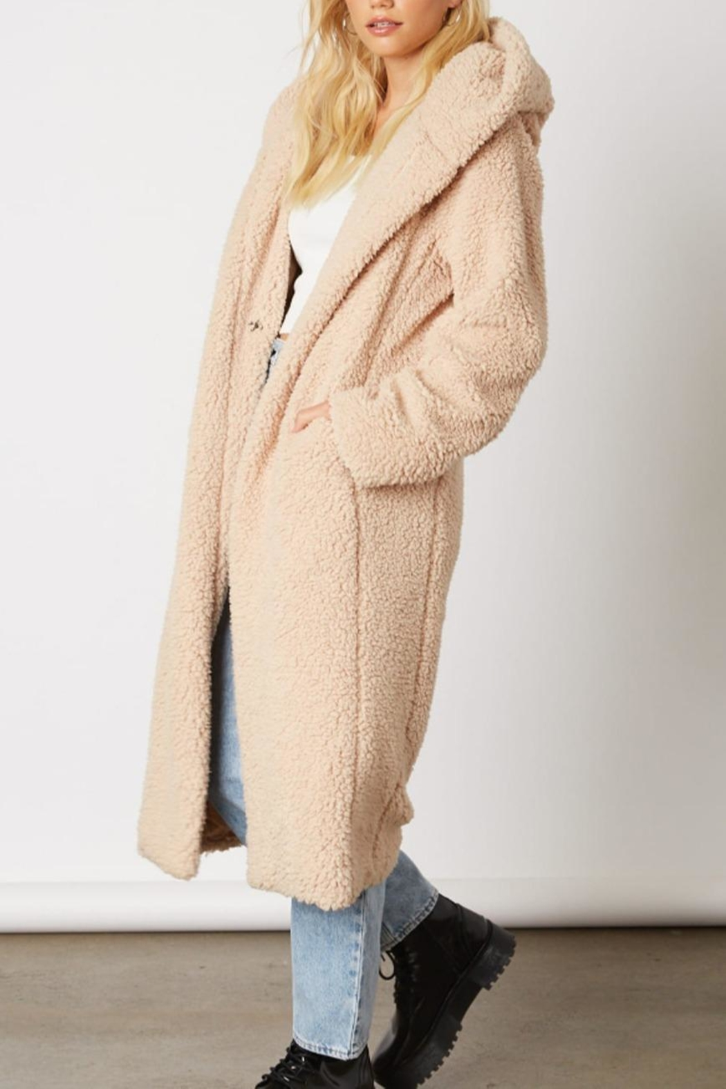 Cotton Candy Long Teddy Coat - Front Full Image