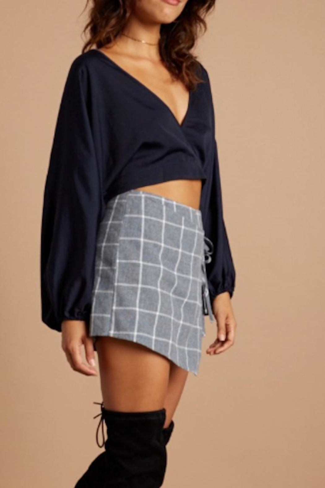 Cotton Candy Navy Wrap Top - Front Cropped Image