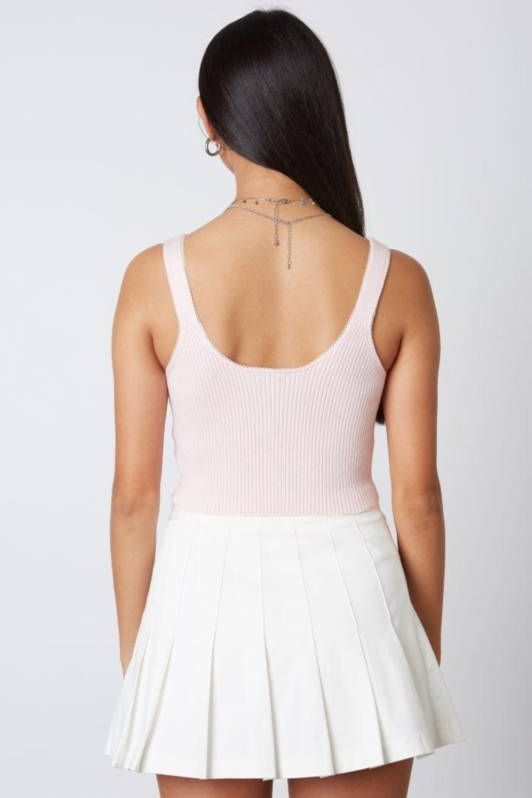 Cotton Candy Open Ribbed Sweater Tank - Side Cropped Image