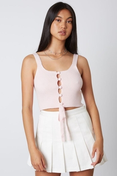 Cotton Candy Open Ribbed Sweater Tank - Product List Image