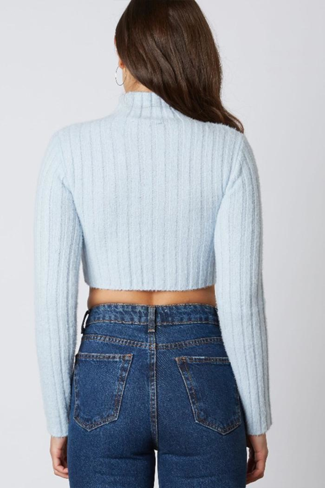 Cotton Candy Ribbed Cropped Sweater - Side Cropped Image