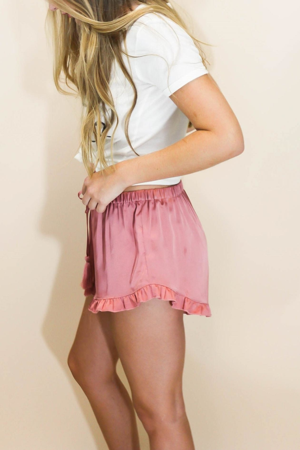 Cotton Candy Rosé Satin Shorts - Front Full Image