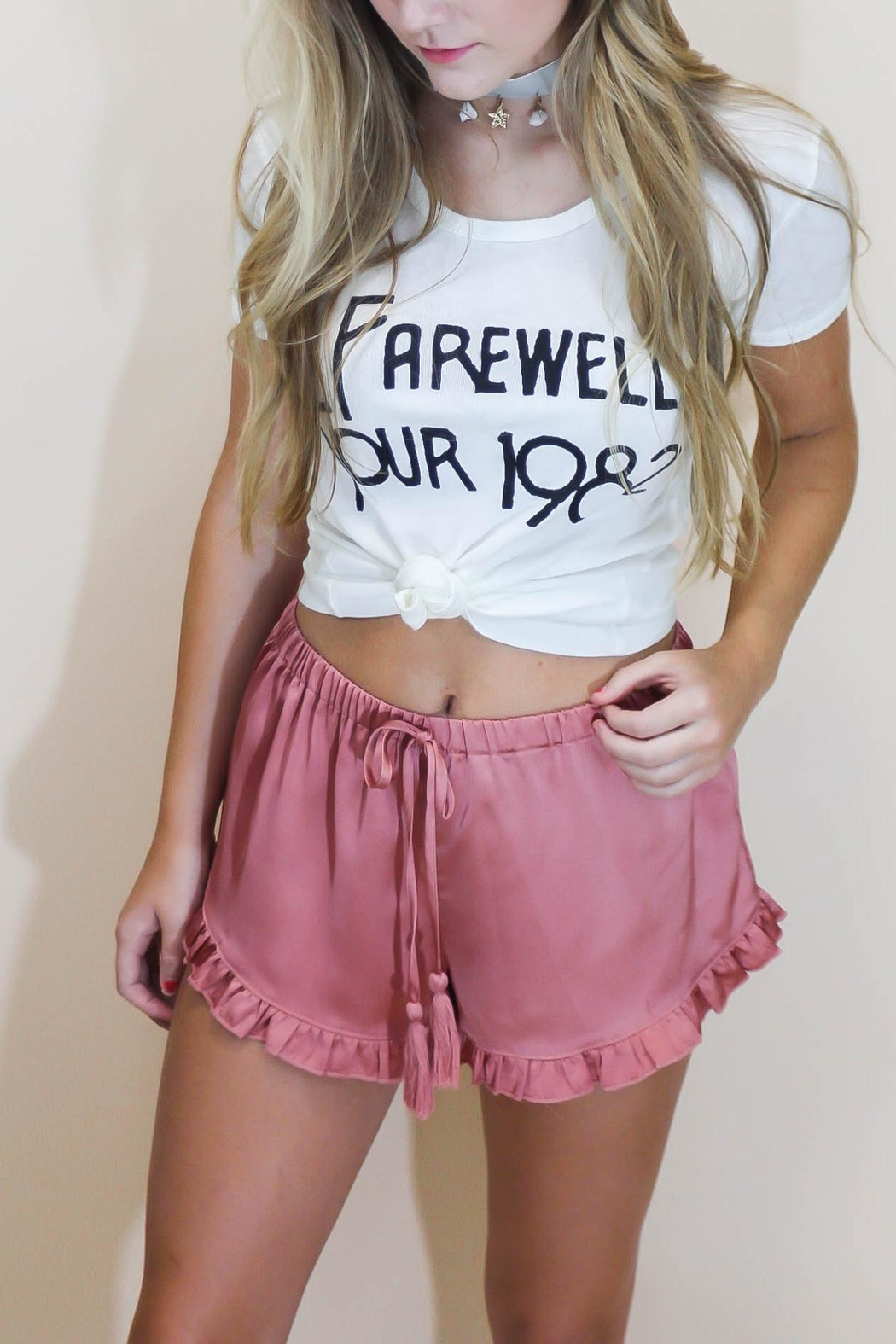 Cotton Candy Rosé Satin Shorts - Front Cropped Image