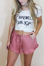 Cotton Candy Rosé Satin Shorts - Front cropped