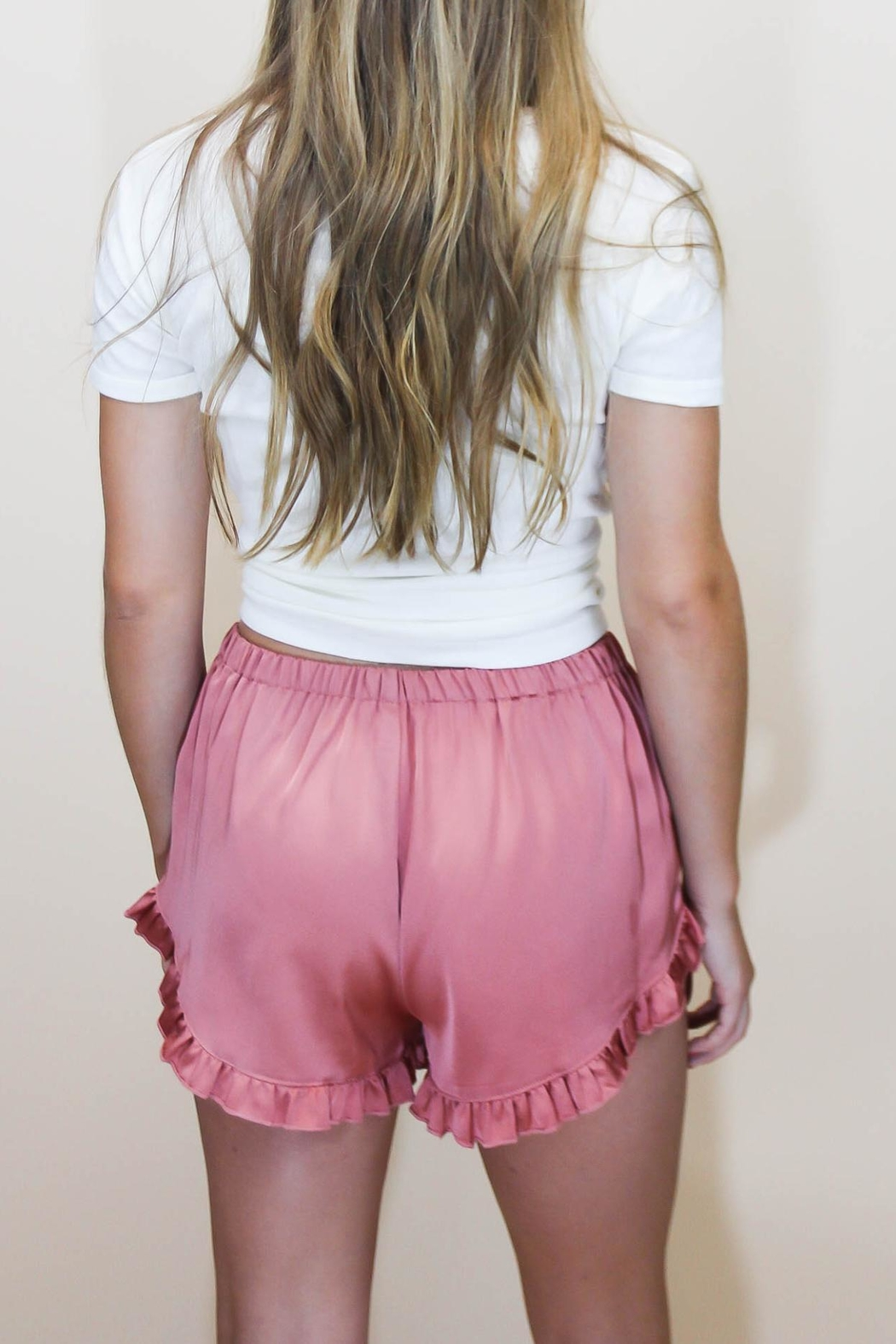 Cotton Candy Rosé Satin Shorts - Side Cropped Image