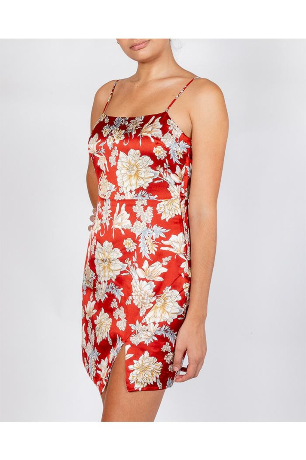 Cotton Candy Rust Floral Dress - Front Full Image